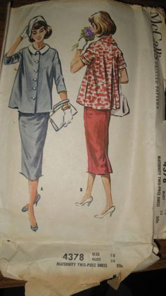Vintage McCall's Maternity Two-Piece Dress Pattern No. 4378 size 18 bust 38