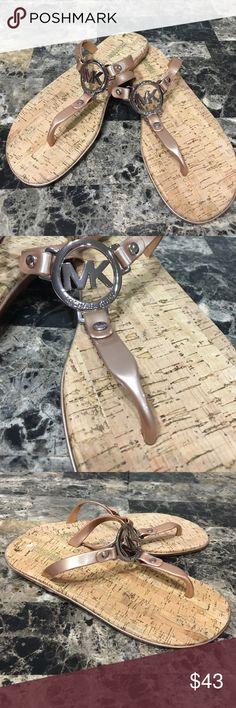 Michael Kors Sandals NWOT Michael Kors Rose Gold sandals with logo KORS Michael Kors Shoes Sandals