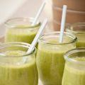 """Green morning smoothie"", coconut milk, oats, banana, peaches, honey, vanilla, spinach"