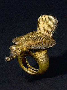 Ghana, Ring from the Asante people, Silver alloy, gold plated
