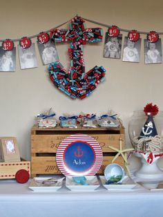 nautical first birthday: Bird's Party printables {photo garland}, ribbon anchor wreath, custom cookie favors, sea glass candy Birthday Photo Banner, First Birthday Photos, Boy First Birthday, Birthday Pictures, First Birthday Parties, First Birthdays, Sailor Birthday, Sailor Party, Birthday Celebration