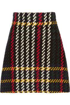 MIU MIU Plaid wool and cotton-blend bouclé-tweed mini skirt. #miumiu #cloth #skirt