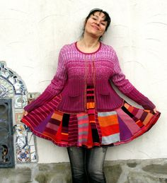 L-XL Crazy striped super patchwork recycled sweater by jamfashion