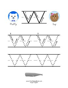 How to write the letter W, with large images to trace for practice, in free printable PDF format. Free Printable Alphabet Worksheets, Free Printables, Learning Letters, Kids Learning, Kindergarten Worksheets, Preschool Activities, Letter W, Tracing Letters, Large Letters