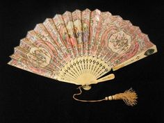 Paper Folding Fan With Ivory Sticks, The Right Guard Stick Has A Small Mirror Located Near The Top   c. 19th Century