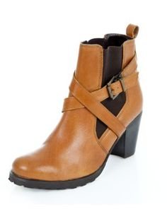 Tan Leather Cross Strap Chelsea Shoe Boots  | New Look