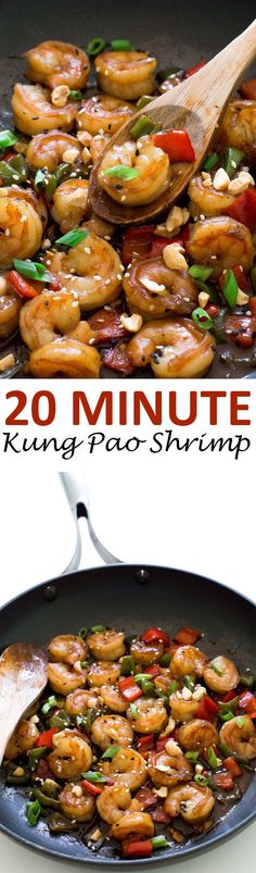 Super Easy Kung Pao Shrimp. Takes less than 20 minutes to make and is so much better and healthier than take out!