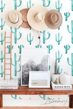Removable wallpaper Green Cactus Self Adhesive Wallpaper