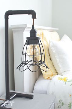 Super cute industrial table lamp made from copper piping!  What a clever idea!