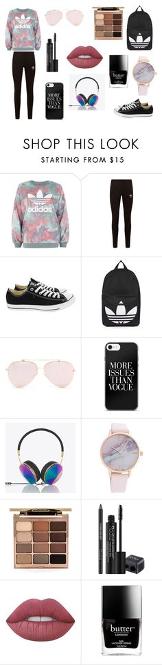 Adidas sporty outfit by ghetaudorina on Polyvore featuring adidas, adidas Originals, Converse, Topshop, Frends, Stila, Rodial, Lime Crime and Butter London