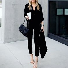 This affordable work blouse and black pant combo is perfect for the office