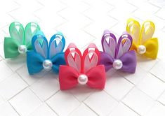 Easter Bunny Hair Clip Mini Hair Bow by OneofEverythingBows
