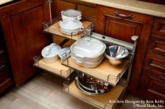 Learn about specialized kitchen storage solutions that are well designed to help eliminate wasted space. Organize your kitchen to maximize storage.