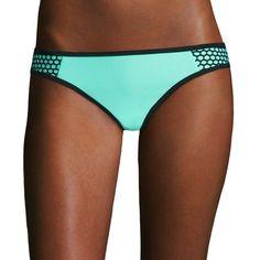 Arizona Mesh Mint Hipster Swim Bottoms - Juniors ($32) ❤ liked on Polyvore featuring swimwear, bikinis, bikini bottoms, mint green bikini, bikini bottom swimwear, tie-dye swimwear, arizona swimwear and mint green bikini bottoms