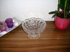 Schwere Kristall Schale Geschliffen mit Rosen und Blätter aus Omas Vitrine