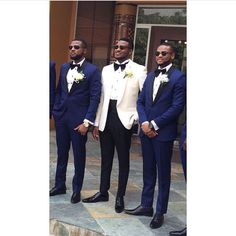 I kind of like the white suited groom with the dark blue groomsmen ~Claire Wedding Tux, Wedding Attire, Blue Wedding, Dream Wedding, Wedding Ideas, Blue Groomsmen, Groom And Groomsmen Attire, African American Weddings, Groom Style