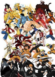 Goku, Luffy, Naruto and Ichigo - Evolutions Dragon Ball, Bleach Pictures, Manga Anime, Anime Art, Character Art, Character Design, Anime Family, Cartoon Crossovers, Anime Crossover