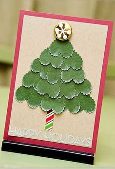Christmas Tree made with scalloped heart shape--no directions found at link