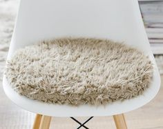 Seat cushion for Eames Chair in light grey cuddly fur Eames, Old Chairs, High Chairs, Dark Grey Background, Seat Pads, Seat Cushions, Shag Rug, Creative, Etsy