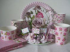 VINTAGE ROSE PINK PARTY TABLEWARE NAPKIN CUP CUPCAKE FLAG PLATE AFTERNOON TEA   eBay