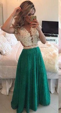 Feminina V Neck vestidos de compras vendas Online vestidos de festa vestido longo verde de pérolas L06