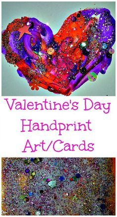 Simple and gorgeous rainbow colored homemade handprint cards for Valentine's #valentine'sdaycrafts