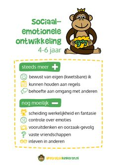 Poster: Sociaal-emotionele ontwikkeling 4-6 jaar Social Emotional Development, Child Development, Coaching, Social Work, Social Skills, First Aid For Kids, Emotional Child, Working With Children, Kids Songs