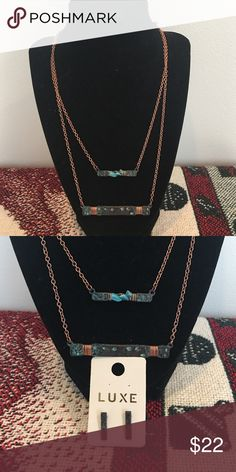 """Great Gift - Double Bar Chain and Earrings Turquoise colored bars with wrapped copper and earrings to match - 21"""" at longest Boutique Jewelry Necklaces"""