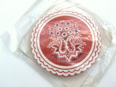 Vintage Paper Coasters Red Paisley Disposable by MyVintageAlcove