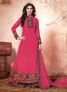 If you love to dazzle in pink, look out for this amazing #salwarkurti #design. The overall appeal of this kurti design is exemplary. Buy this piece right away here