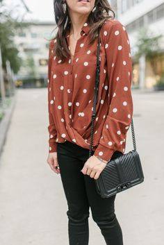 3640644b3 fall outfit | polka dot top | black quilted crossbody bag | Houston Fashion  Blog Lady