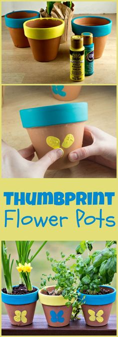 Decorative Thumbprint Flower Pots for Mother's Day is part of Easy crafts Spring - make cute thumbprint butterflies on terracotta flower pots for an easy spring craft Kids Crafts, Daycare Crafts, Crafts To Do, Preschool Crafts, Easter Crafts, Projects For Kids, Craft Projects, Garden Projects, Craft Ideas