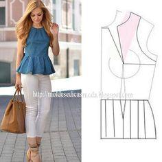 Modelagem de blusa frente única com peplum, parte1.