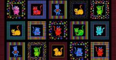 Cool Cats Fabric Panel by Loralie Designs 15 Blocks Per Panel High Quality Cotton Loralie Harris