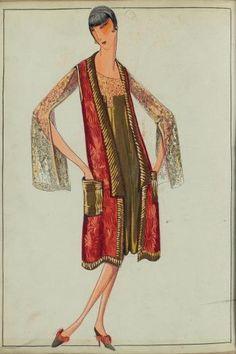 JEANNE LANVIN PINK TABARD AND GOLD LAMÉ DRESS ETÉ 1929
