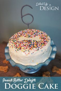 Homemade Dog Food Puppy Cake Recipe - Peanut Butter Delight Doggie Cake Recipe - Instead of the baby food in this recipe, you can also use 1 or 2 fresh bananas but I prefer the ease of the baby food over trying to buy bananas at the perfect ripeness. Cake Dog, Puppy Cake, Dog Cakes, Dog Cake Recipes, Dog Treat Recipes, Baby Food Recipes, Dog Safe Cake Recipe, Dog Frosting Recipe, Recipe Puppy