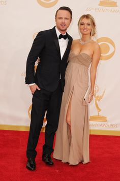 American actor Aaron Paul wearing a Burberry tuxedo at the Emmy Awards in Los Angeles last night