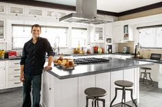 This open and airy 15-by-20-foot kitchen was self-designed by the homeowner