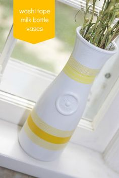 Washi Tape milk bottle vase