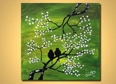 LOVE BIRDS Painting Landscape Modern, Lovebird wall art, ORIGINAL Lovebirds Art Green White Birds on a tree Huge on canvas. Art Vert, Love Birds Painting, Cherry Blossom Painting, Creation Art, Guache, Tree Art, Bird Art, Oeuvre D'art, Painting & Drawing
