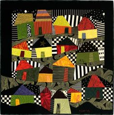 """Yankee Pueblo"" Stunning ""wonky houses"" by Judith Reilly. House Quilt Patterns, House Quilt Block, Dress Patterns, Colorful Quilts, Small Quilts, Quilting Projects, Quilting Designs, African Quilts, Inspiration Art"