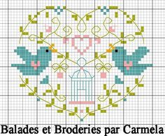cross stitch - birds, birdcage, heart