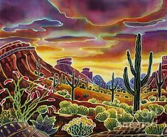 Sunrise Painting - Sonoran Desert Glow by Harriet Peck Taylor Landscape Art, Landscape Paintings, Landscapes, Fine Art Amerika, Sunrise Painting, Southwestern Art, Batik Art, Desert Art, Cactus Art