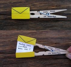 Save time for creative and interesting ideas. Make creative stuff out of wooden pegs. You can make awesome decorations out of wooden pegs or some things Wooden Pegs, Wooden Clothespins, Messages, Cute Crafts, Simple Crafts, Fun Projects, Diy Gifts, Handmade Gifts, Paper Crafts