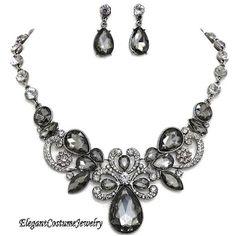 Black Diamond Crystal Necklace Set Elegant Wedding Jewelry www.ElegantCostumeJewelry.com