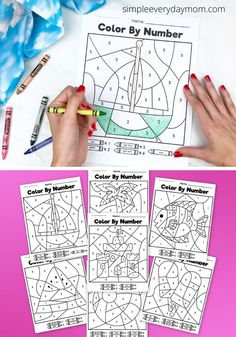 Need a simple and no prep activity for the break? These summer color by number printables are super fun and great for young kids!   #simpleeverydaymom Color By Number Printable, Printable Numbers, Coloring For Kids, Coloring Pages, Learn Handwriting, Pre K Activities, Number Worksheets, Sensory Bins, Fine Motor Skills