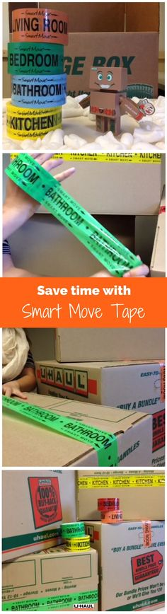Moving Tip: Save time and make unpacking easier by quickly labeling with color coded Smart Move tape. Each color coded roll helps to identify which room a box belongs in. Click through to have a more organized move today! | Packing for a Move
