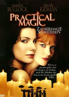 Practical Magic: For something not quite to scary, go with this movie.  It's funny and I love the Aunts.  Some scenes are a bit adult, but only the ones with Nicole Kidman.