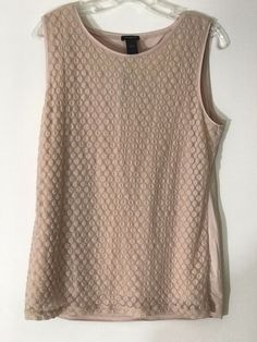 a07f6a2f9332 Ann Taylor Cream Sleeveless Mesh Patterned Blouse Shirt Top Size L Free  Shipping  AnnTaylor