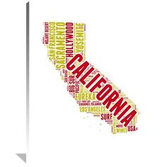 Naxart 'California Word Cloud Map' Textual Art on Wrapped Canvas Size: